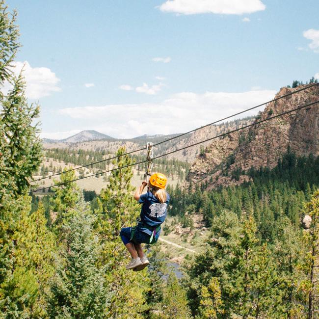 Ziplining in Rocky Mountains