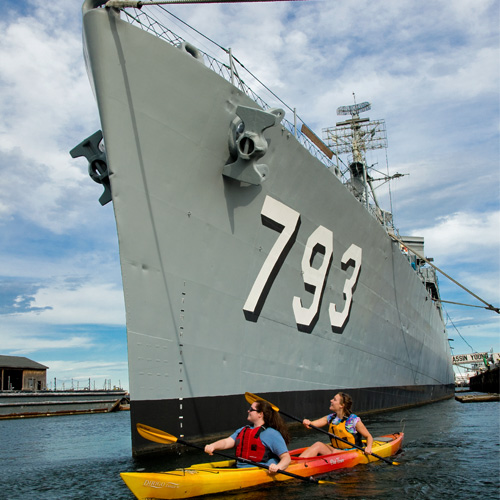 A ship in Boston with Kayaking