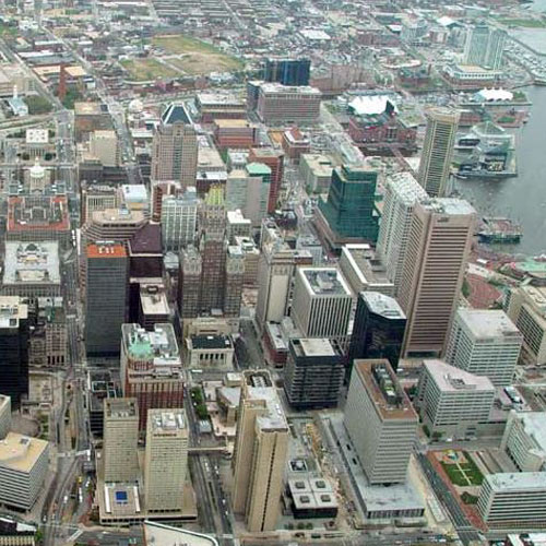 Downtown Baltimore View from Scenic Flight
