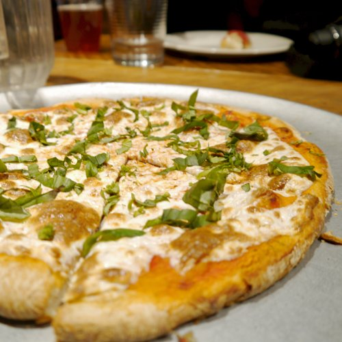 Pizza during Brewery Tour in Brooklyn New York