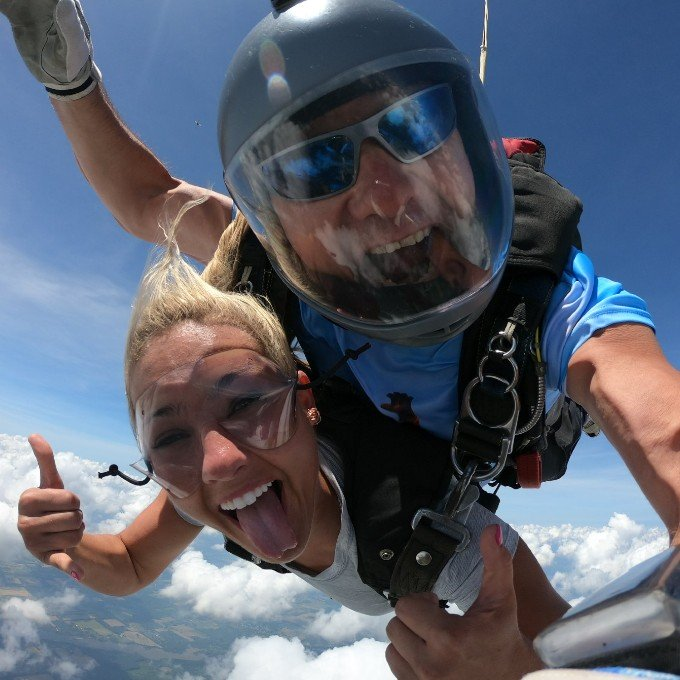 Free Fall during Tandem Skydiving Experience in Ohio