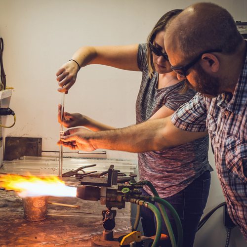 Romantic Glass Blowing Lesson in Philly