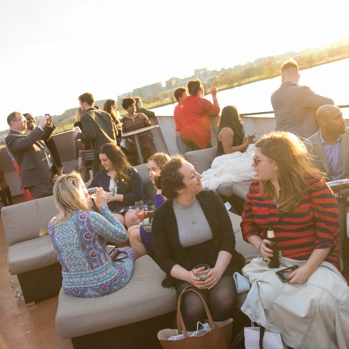 Guests on the Sundeck of Mt. Vernon Cruise