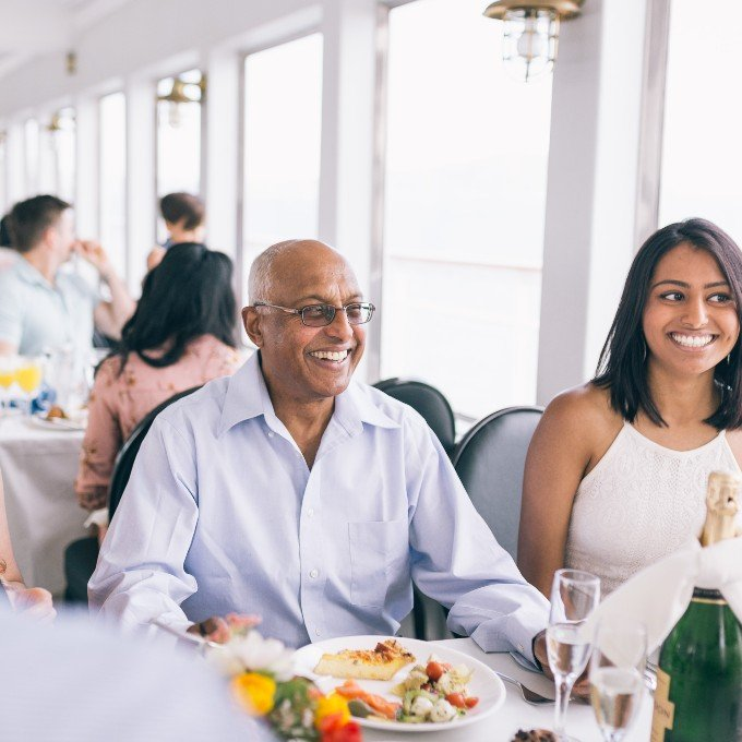 Happy diners on a scenic lunch cruise in DC