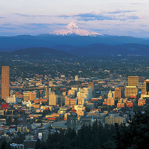 View of Portland with Mountains in the Back