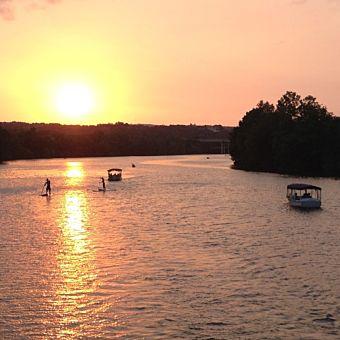 Sunset during Romantic Dinner Cruise in Austin