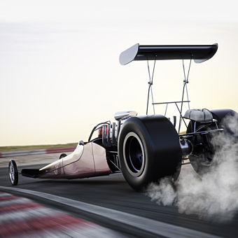 Side-by-Side Dragster Race at Woodburn Dragstrip