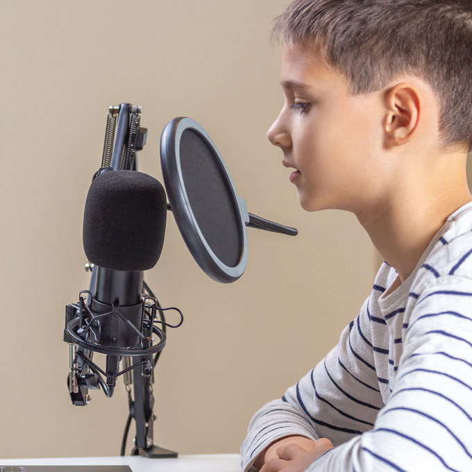 Kid Singing with Microphone