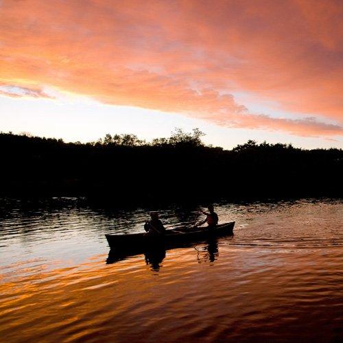 Canoeing in Boston under the Moonlight