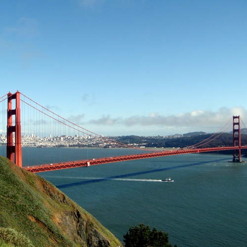 View of Golden Gate Bridge on Muir Woods Tour