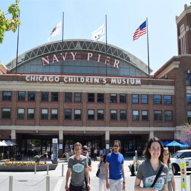 Navy Pier Entrance on Food Tour in Chicago