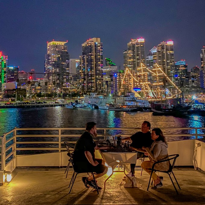 Dine on the deck of San Diego Dinner Cruise