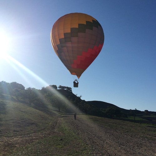 Launching the hot air balloon