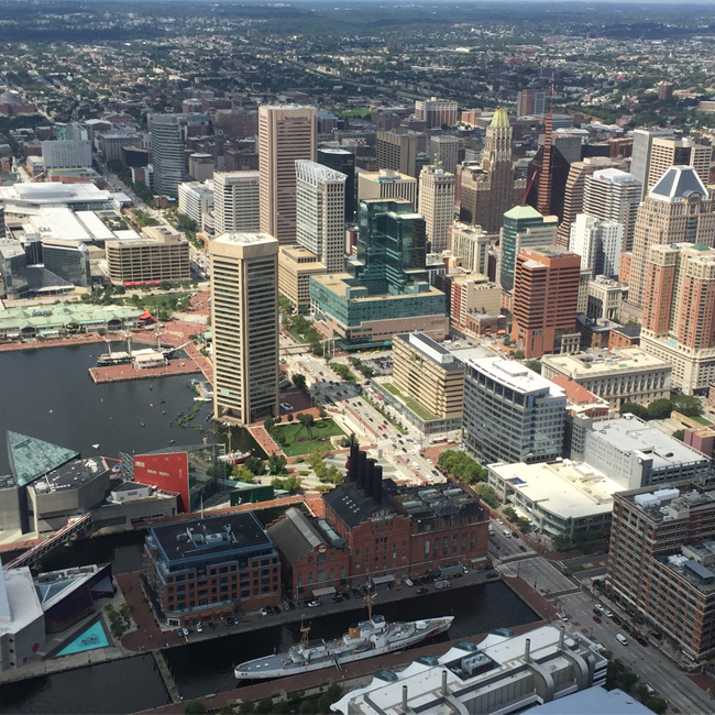 Skyline Baltimore View during Helicopter Tour