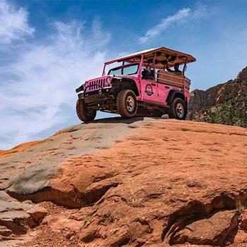 Climbing Rock during Broken Arrow Jeep Tour
