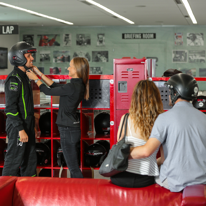 Suit Fitting During Exotic Racing Experience at Las Vegas Motor Speedway