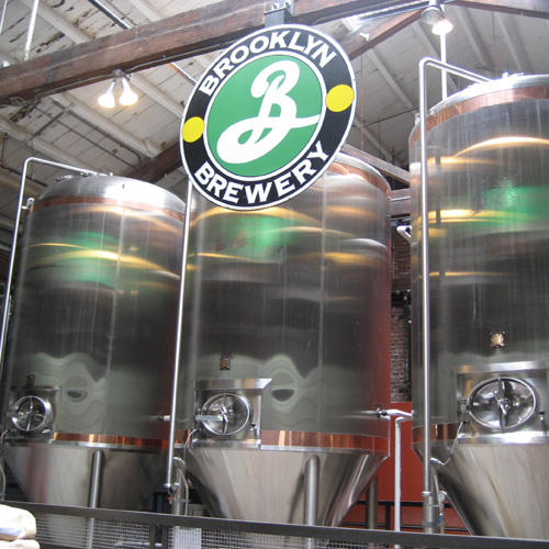 Beer Tanks Seen During Brewery Tour in Brooklyn